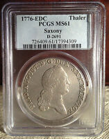 1776 COLONIAL TIMES IN MINT STATE PCGS. MS   61  SILVER THALER
