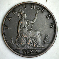 1865 BRONZE FARTHING GREAT BRITAIN UK COIN XF