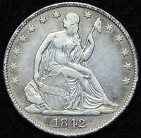 1842 O SEATED LIBERTY HALF DOLLAR 50 CENTS.  KEY DATE ONLY 957,000 MINTED 5012