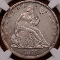 1870 WB 101 LIBERTY SEATED HALF NGC AU50 LIGHT GOLD LUSTER  DAVIDKAHNCOINS