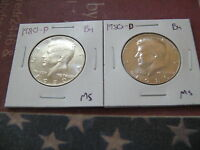 1980 P&D BU KENNEDY HALF DOLLARS 2 NICE COIN FROM MINT SET A625