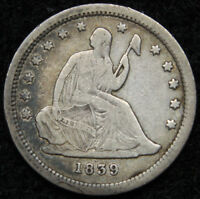 1839 SEATED LIBERTY QUARTER 25 CENTS   KEY DATE ONLY 491,146 MINTED. 4984