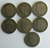 1912 D LIBERTY V NICKEL UNITED STATES TYPE COINS FIVE 5 CENTS LOT OF 7 R