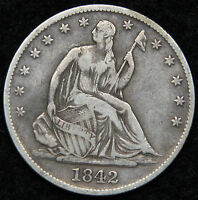 1842 O SEATED LIBERTY HALF DOLLAR 50 CENTS.  KEY DATE ONLY 957,000 MINTED 4998