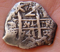 BOLIVIA 2  REALES 1741 P MACUQUINA COLONIAL COIN  SILVER   KM29A