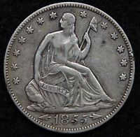 1855 SEATED LIBERTY HALF DOLLAR. 50 CENTS   KEY DATE 759,500 MINTED 5205