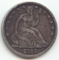 1844 O SEATED LIBERTY HALF DOLLAR ORIGINAL VF XF
