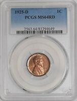 1925-D LINCOLN CENT 1C MINT STATE 64 RD PCGS