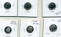 1960 1961 1963 1994 2002 ROOSEVELT SILVER PROOF DIME LOT OF 6
