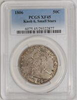 1806 CAPPED BUST HALF 50C KNOB 6, SMALL STARS EXTRA FINE 45 PCGS