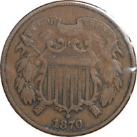 1870 TWO CENT PIECE, FINE, PLEASING CIRCULATED, BETTER DATE