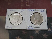 1776 1976 S PROOF & UNC. SILVER KENNEDY HALF DOLLARS  2 GREAT COINS  AA1