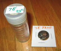 1978 PROOF WASHINGTON QUARTERS 20 PC 78 PROOF 25C 20 COIN  HALF ROLL