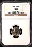 1969 D ROOSEVELT DIME CERTIFIED MS 65 BY NGC