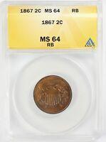 1867 2C TWO CENT UNITED STATES COIN ANACS MS 64 RED BROWN NICE