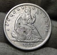1867S SEATED LIBERTY HALF DOLLAR 50 CENTS. SEMI KEY DATE  4918