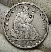 1867S SEATED LIBERTY HALF DOLLAR 50 CENTS. SEMI KEY DATE  3639