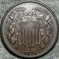 1871 TWO CENT PIECE 2CP TYPE COIN STUNNING ---- LOW MINTAGE ---- E404