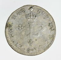 1739 LOUIS XV FRANCE TOKEN LUDOVICUS DOUBLE SOL BILLON MONTPELLIER COIN