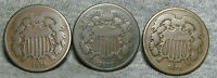 LOT OF 3 1871 TWO CENT PIECES 2CP -- LOW MINTAGE --  H902