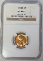 1953 D 1C LINCOLN WHEAT CENT PENNY NGC MS67RD RED