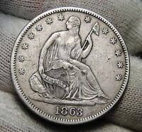 1863 SEATED LIBERTY HALF DOLLAR. 50 CENTS   KEY DATE 503,200 MINTED 3395