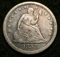 1857 O SILVER UNITED STATES SEATED LIBERTY QUARTER DOLLAR COIN   VF