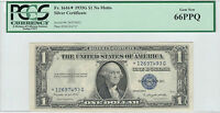 1935G NO MOTTO $1 SILVER CERTIFICATE STAR NOTE FR1616 PCGS GEM NEW 66 PPQ