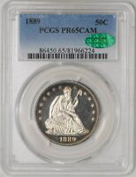 1889 SEATED LIBERTY HALF 50C PR65 CAMEO PCGS   CAC