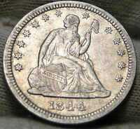1844 SEATED LIBERTY QUARTER 25 CENTS   KEY DATE ONLY 421,200 MINTED. 5392
