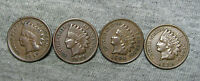LOT OF 4 INDIAN HEAD CENT PENNIES: 1896 1897 1904 AND 1905         M187