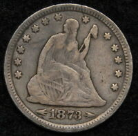 1873 SEATED LIBERTY QUARTER 25 CENTS   NICE COIN SEMI KEY DATE 5294