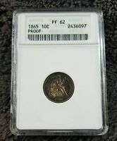 1865 LIBERTY SEATED DIME ANACS PF62  US TYPE COIN  TONING