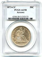 1873 CC LIBERTY SEATED SILVER HALF DOLLAR PCGS AU 50 ARROWS NICE CC COIN