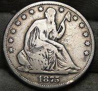 1875 CC SEATED LIBERTY HALF DOLLAR 50 CENTS   KEY DATE NICE COIN 5435