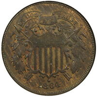 1864 LARGE MOTTO 2C ANACS MINT STATE 62 RED BROWN