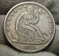 1871 SEATED LIBERTY HALF DOLLAR 50C   NICE COIN SEMI KEY DATE 4734