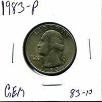 1983 P 25C WASHINGTON QUARTER DOLLAR IN GEM UNCIRCULATED CONDITION 83 10