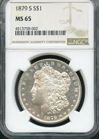 1879 S MORGAN SILVER DOLLAR NGC MINT STATE 65 002