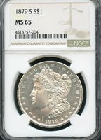 1879 S MORGAN SILVER DOLLAR NGC MINT STATE 65 004