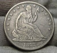 1878 SEATED LIBERTY HALF DOLLAR. 50 CENTS   SEMI KEY DATE  4719