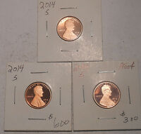 THREE 2014 S PROOF LINCOLN SHIELD CENTS  LOT 137