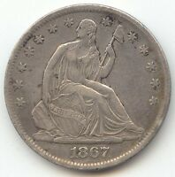 1867 S SEATED LIBERTY HALF DOLLAR  SHARP AND LUSTROUS XF