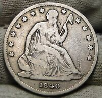 1840 O SEATED LIBERTY HALF DOLLAR 50 CENTS. KEY DATE ONLY 855,100 NICE 5471