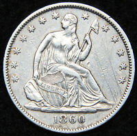 1860 O SEATED LIBERTY HALF DOLLAR 50 CENTS. NICE COIN SEMI KEY DATE 5014