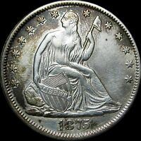 1875 SEATED LIBERTY HALF DOLLAR      STUNNING DETAILS      D341