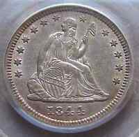 1844 SEATED QUARTER   TOUGH EARLY DATE  THIS NICE PCGS AU 53 CAC PQ