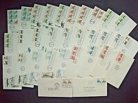 SB1 STAMPS - LOT OF 35 ASSORTED 'TRANSPORTATION SERIES' FDCS