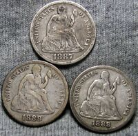 1887 1888 1889 SEATED LIBERTY DIME LOT OF SILVER      TYPE COINS      O568