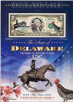 GENUINE COLORIZED TWO DOLLAR BILL SERIES DELAWARE 1787 1ST STATE TO JOIN UNION